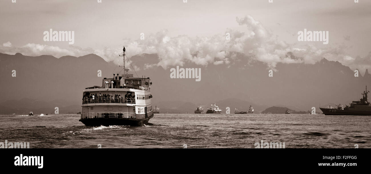 Barca Rio-Niteroi ferry boat on Baia de Guanabara in Rio de Janeiro, Brazil - Stock Image