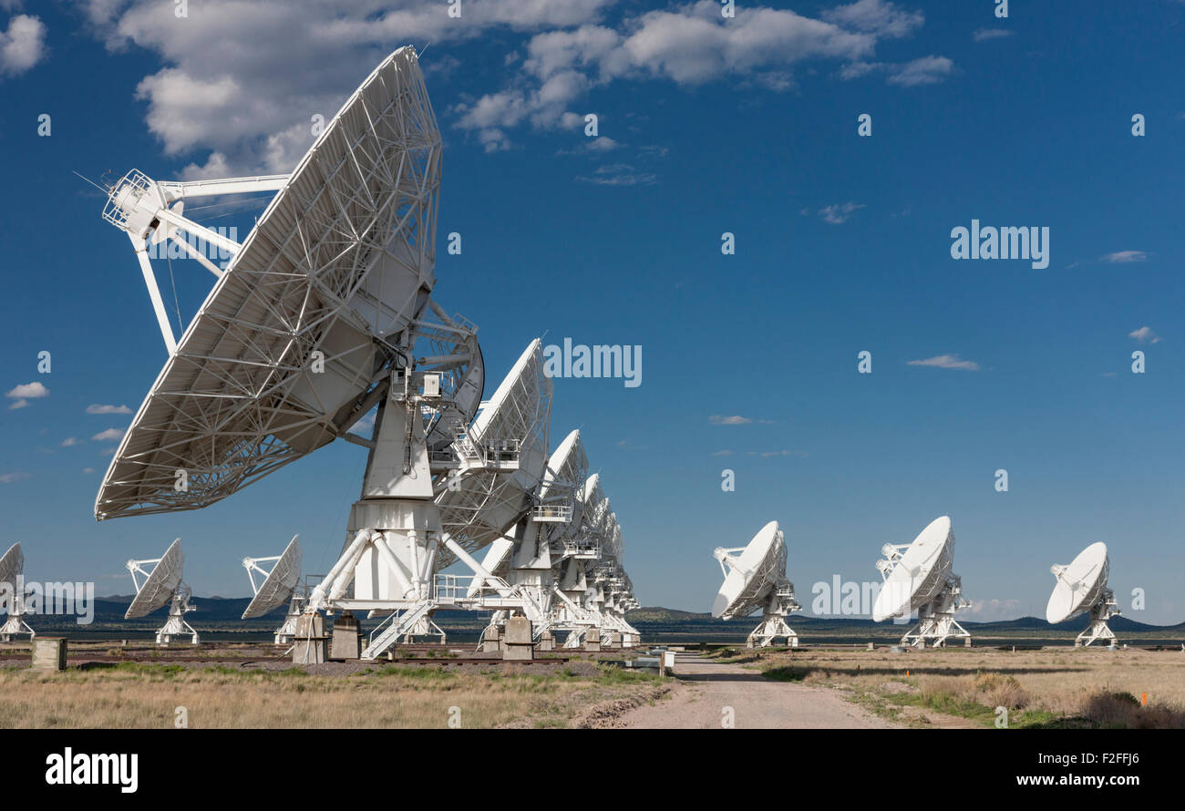 Radiotelescope dishes of the Very Large Array radio observatory in the Plains of St Agustin near Socorro, NM, USA - Stock Image