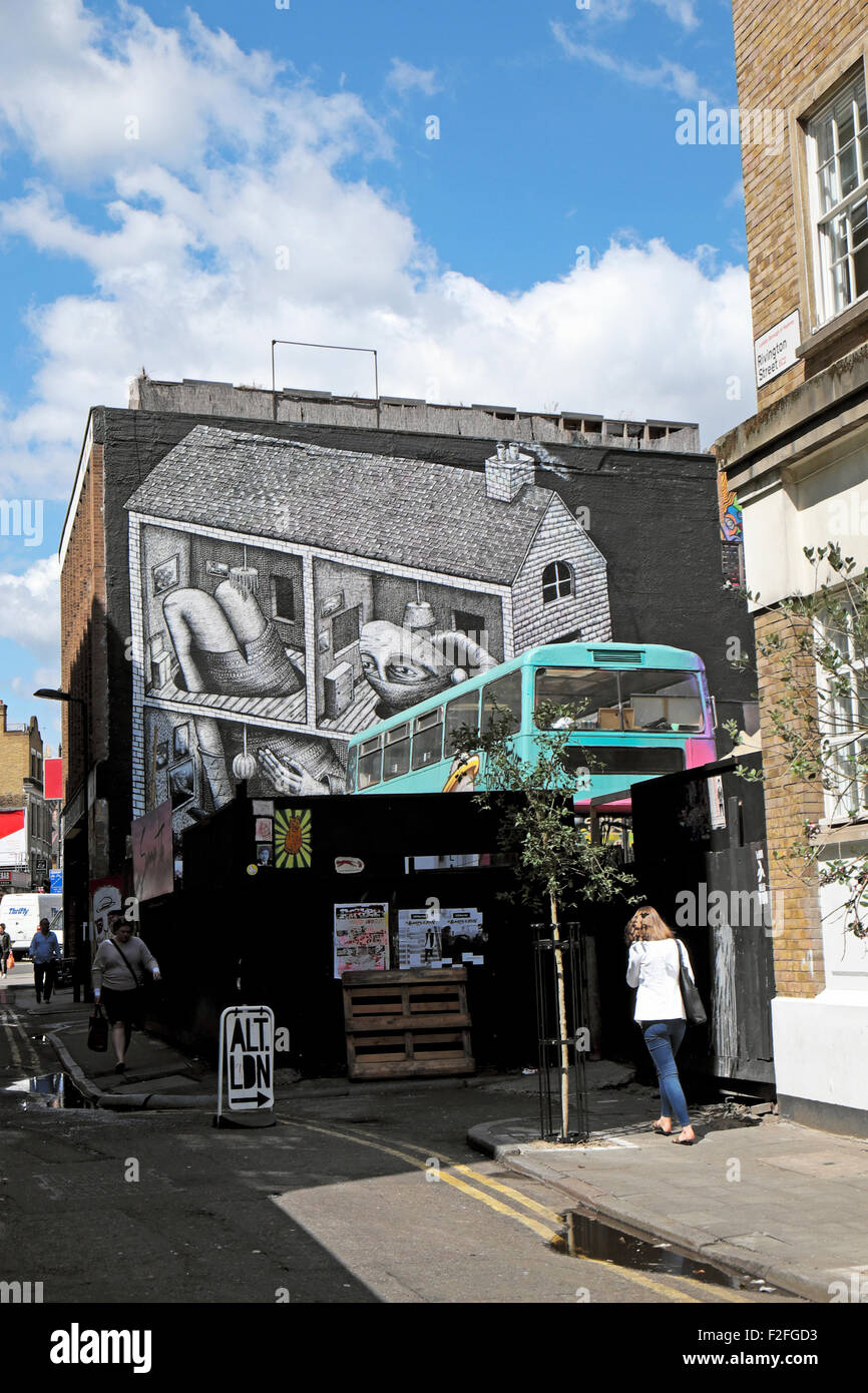 Shoreditch London Uk: Street Art By Artist Phlegm On Wall In Shoreditch East