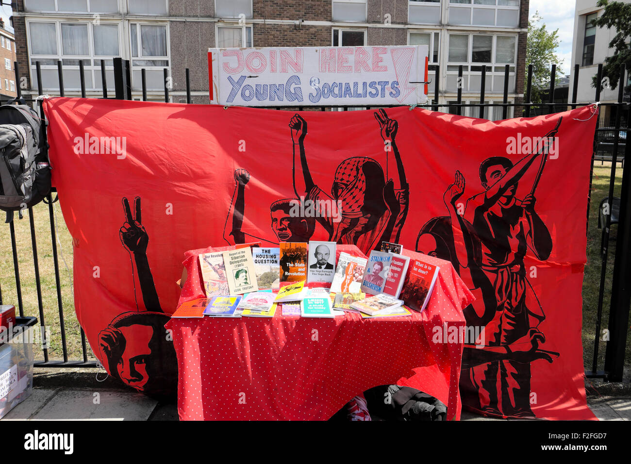 Young Socialists book stall with Lenin Trotsy books at a jumble sale in 2015 Hoxton London, UK   KATHY DEWITT - Stock Image