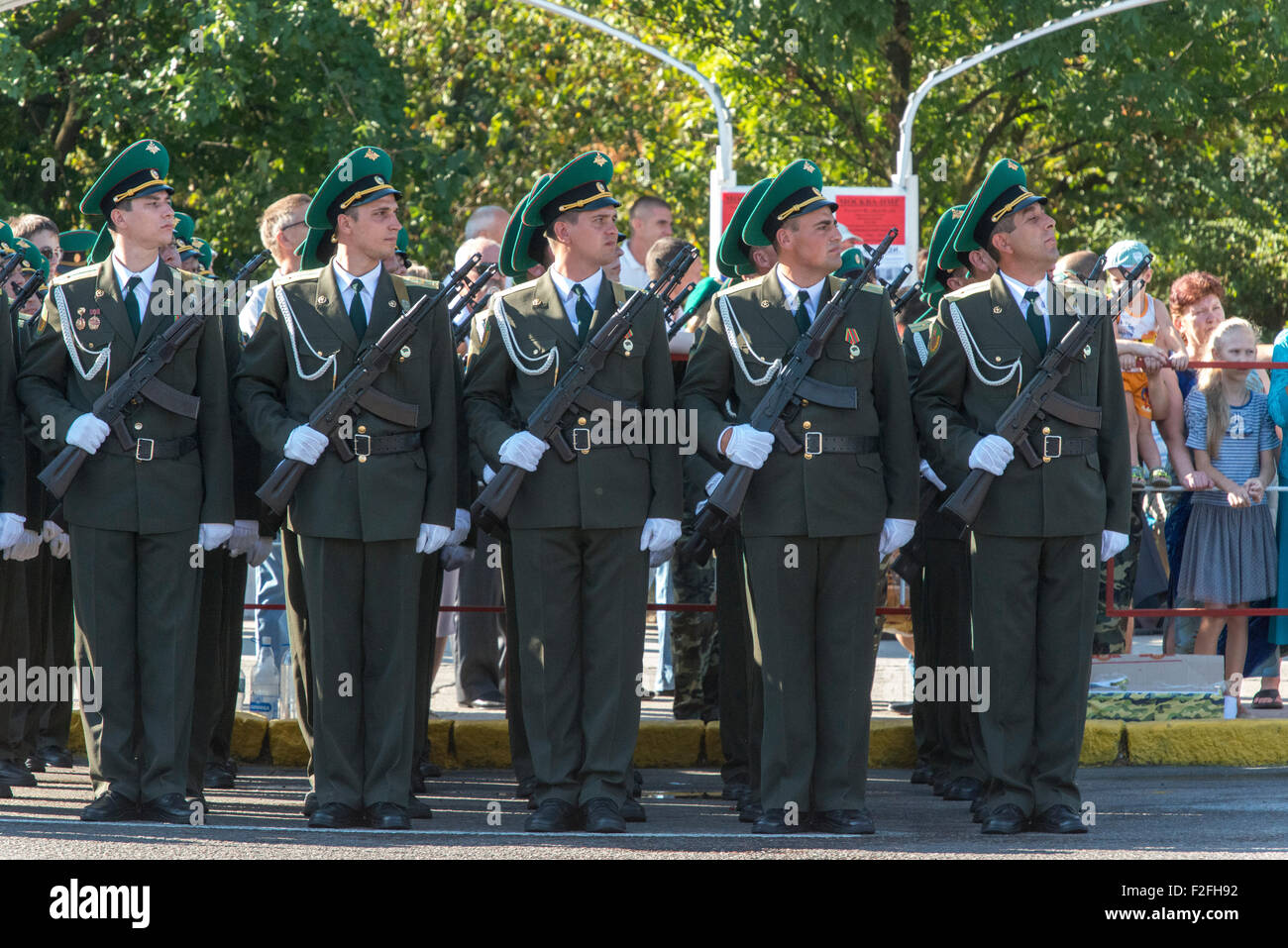 Soldiers Standing To Attention 25th Anniversary of the Pridnestrovian Moldavian Republic PMR, Transnistria, Soviet - Stock Image