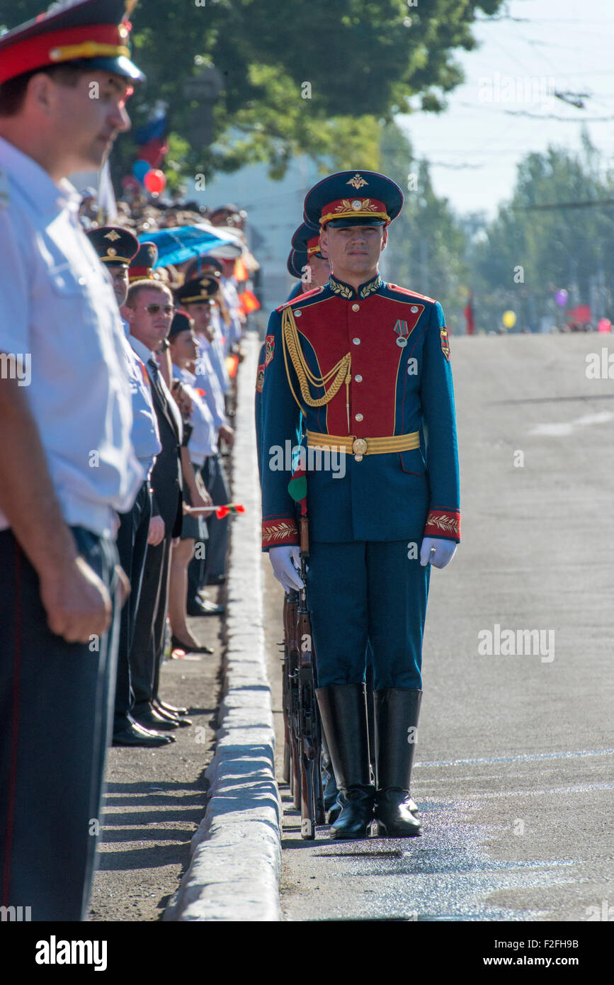 Soldiers And Policemen Standing To Attention - 25th Anniversary Pridnestrovian Moldavian Republic PMR Transnistria - Stock Image