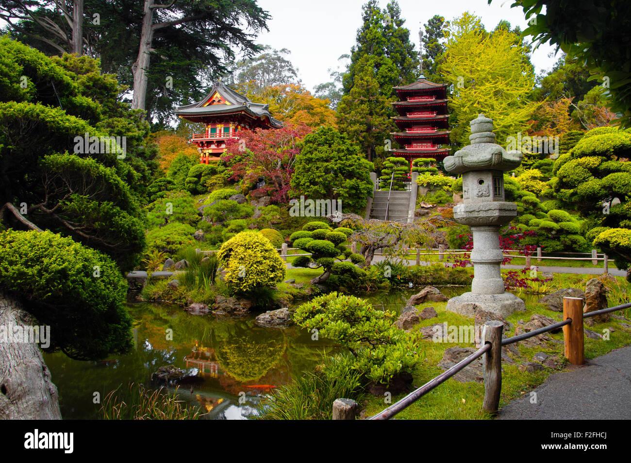 Pagodas In Japanese Tea Garden San Francisco California Usa Stock