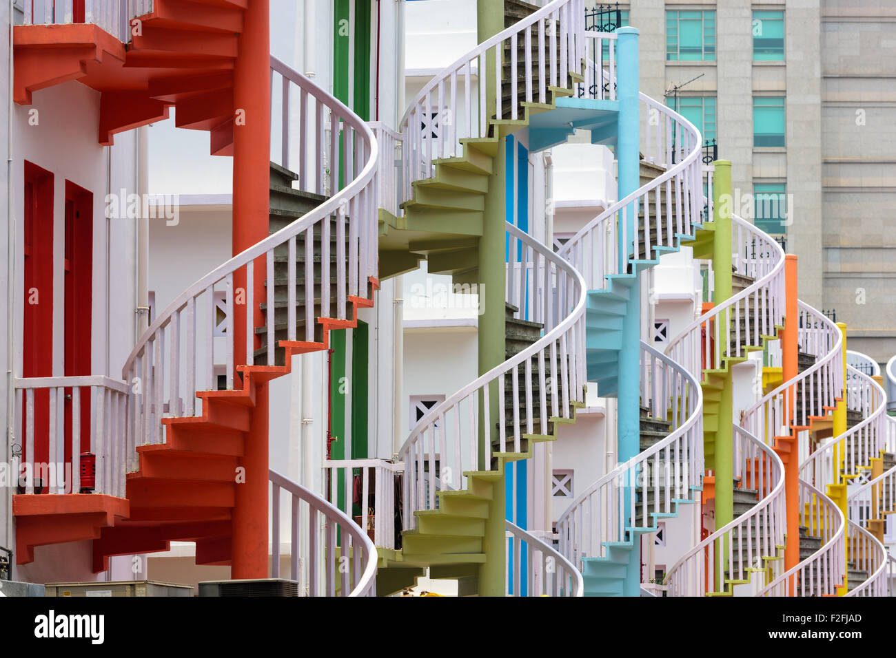 Singapore at Bugis Village spiral staircases. - Stock Image
