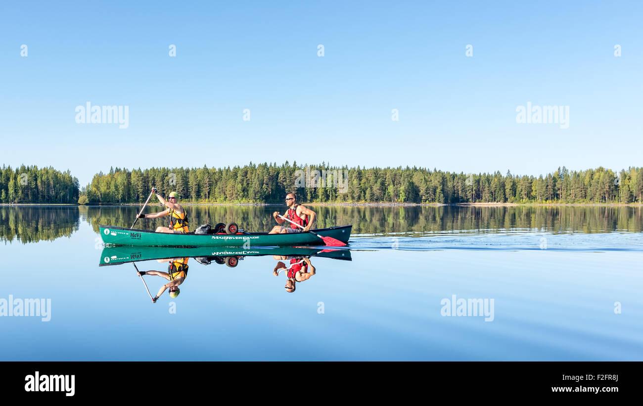 Canoeing at Jämsä, Finland, Europe, EU Stock Photo