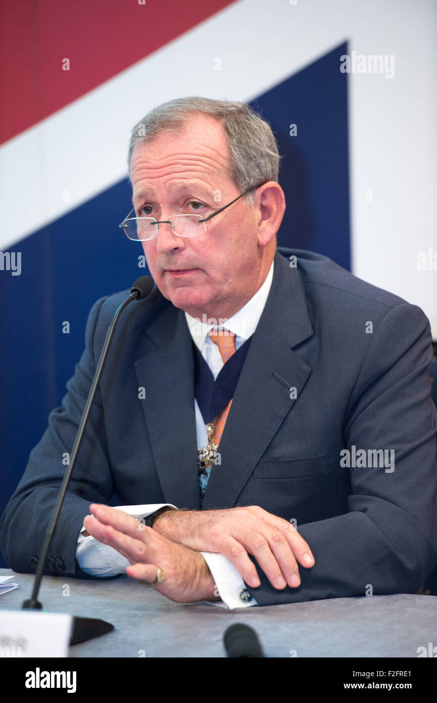 Hong Kong. 18th September, 2015. Alderman Alan Yarrow, The Lord Mayor of London, talks to the press at the British - Stock Image