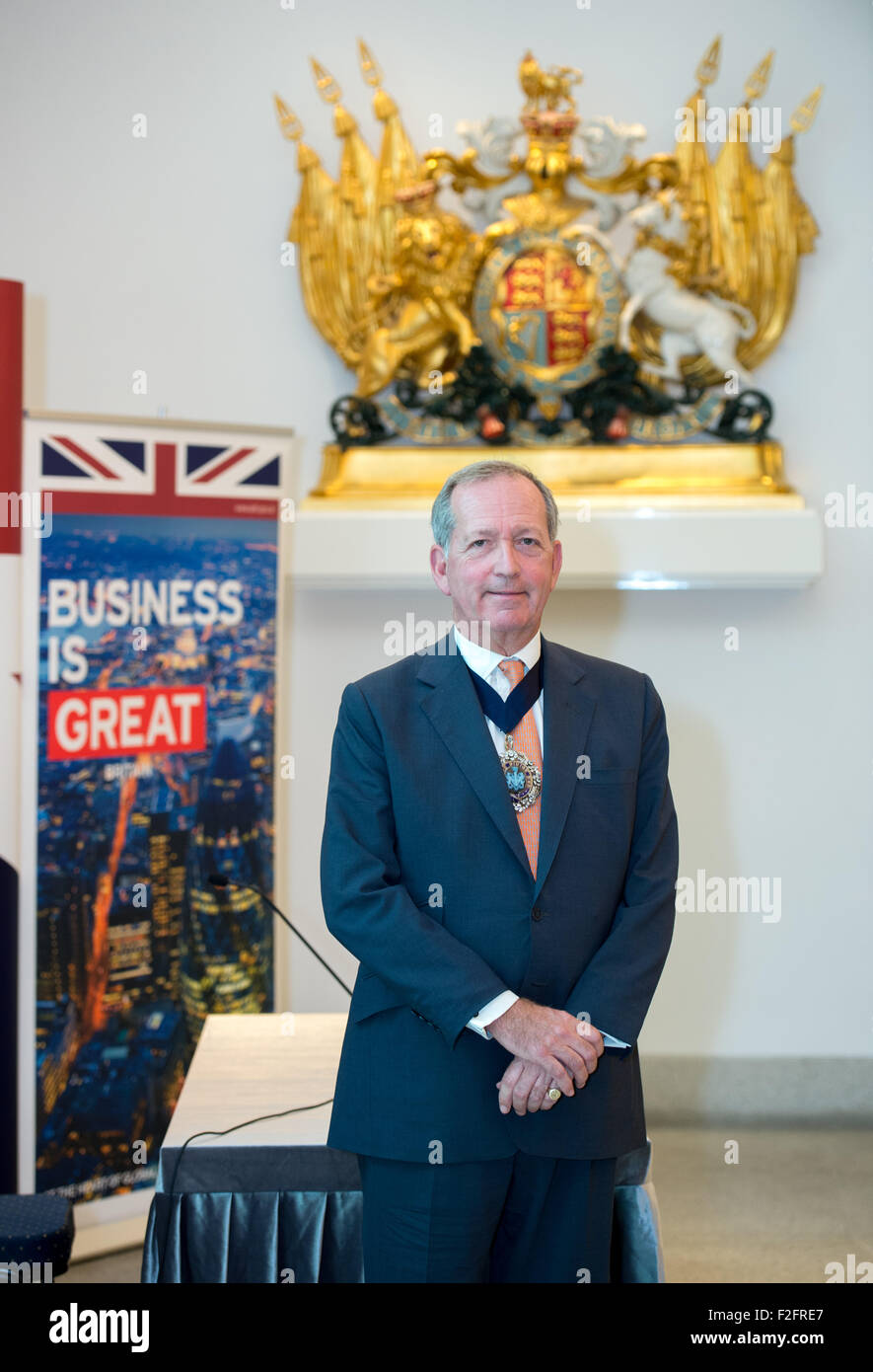 Hong Kong. 18th September, 2015. Alderman Alan Yarrow, The Lord Mayor of London, poses in the Foyer of the British Stock Photo
