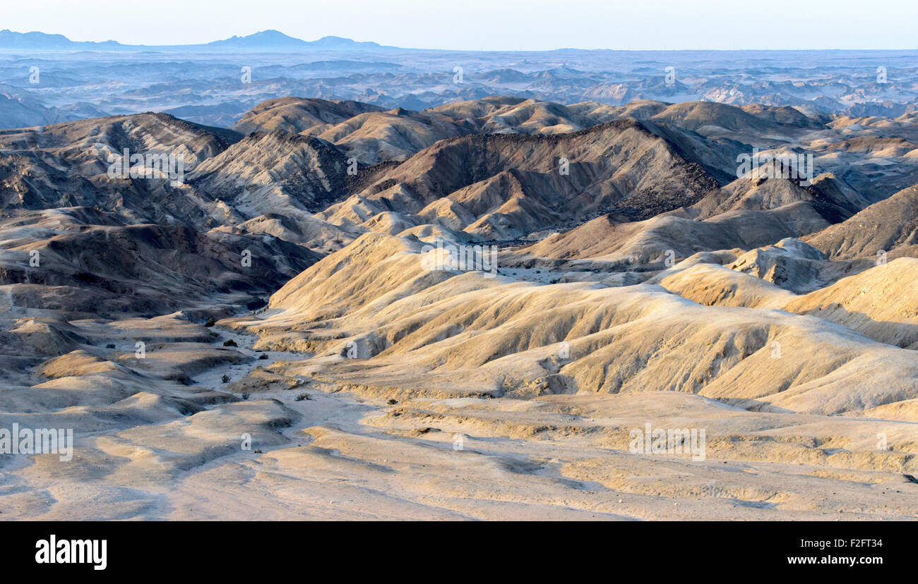 The Moon Landscape area along the Swakop river near Swakopmund in Namibia - Stock Image
