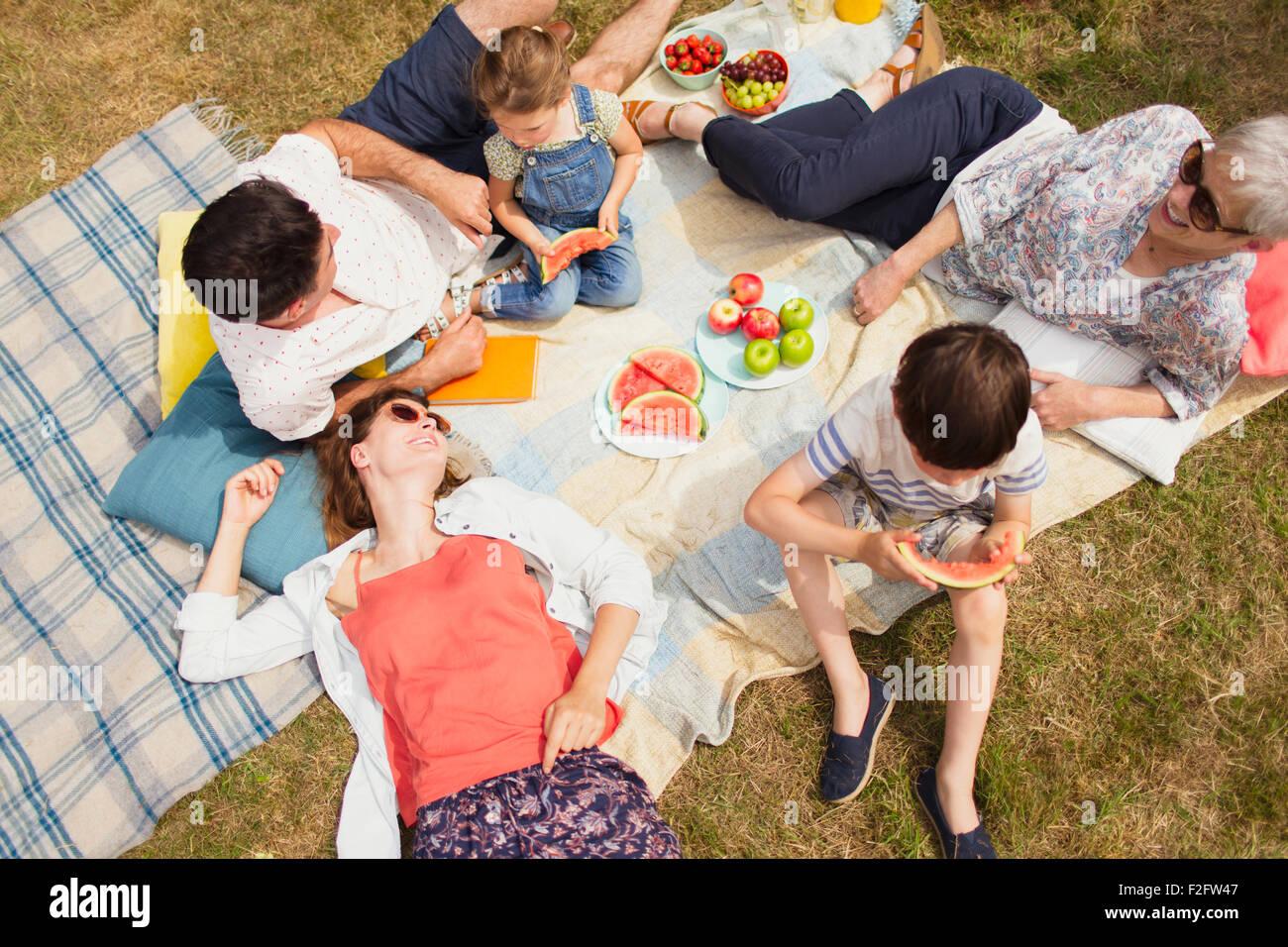 Overhead view multi-generation family enjoying summer picnic - Stock Image
