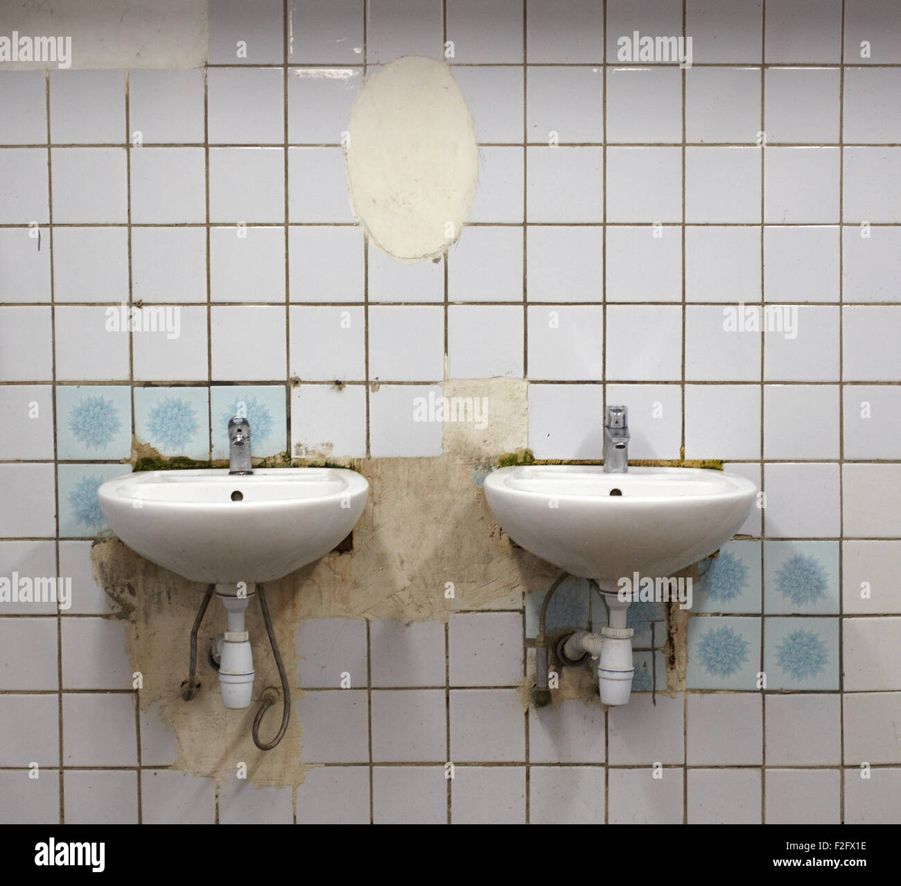 Photo of Old sinks in a public toilets Stock Photo: 87630858 - Alamy