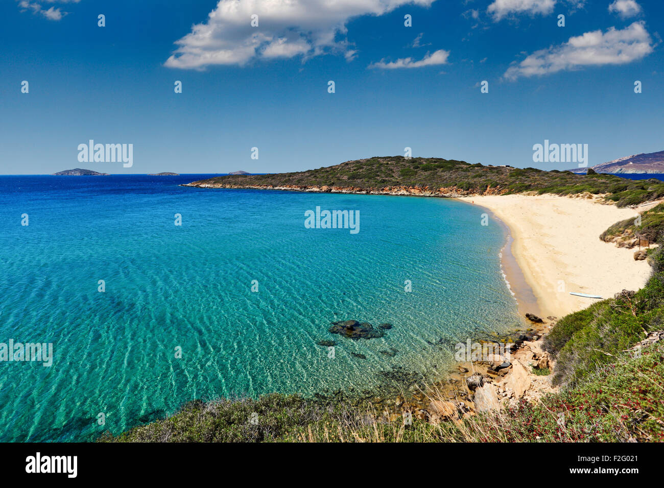 Chrisi Ammos is the most popular beach in Andros, Greece Stock Photo