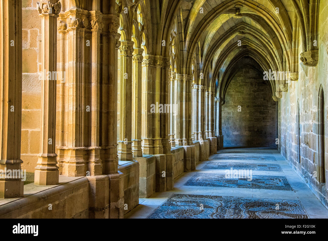 Gothic cloister of the Monastery of La Oliva, 12-13 centuries, Navarre, Spain Stock Photo