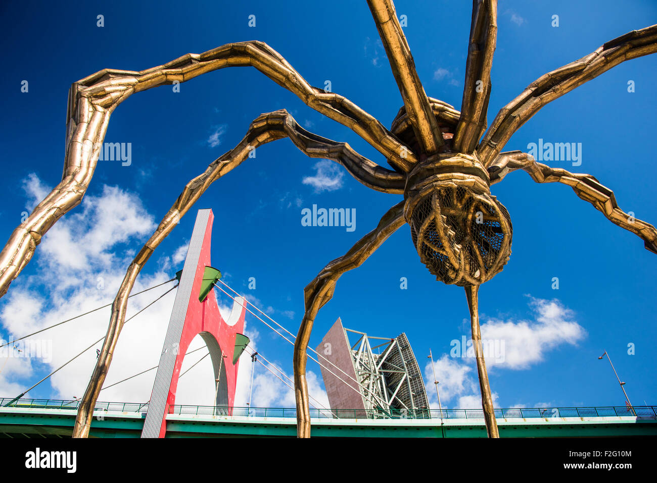 """""""Maman"""" - spider sculpture by Louise Bourgeois with the La Salve Bridge at the background, Bilbao, Biscay, Spain - Stock Image"""