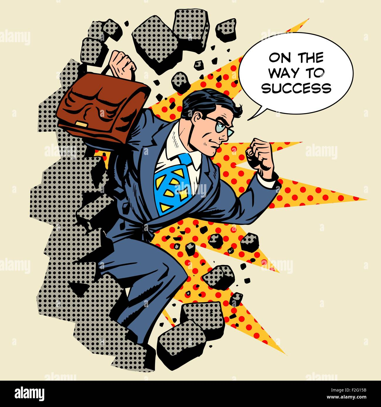 Business breakthrough success businessman hero breaks through th - Stock Vector