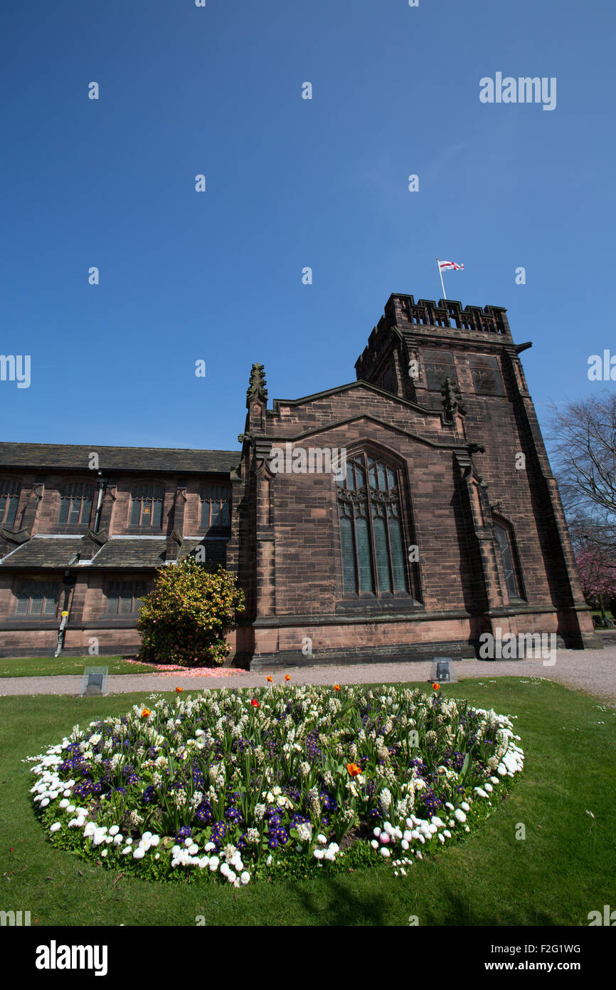 Village of Port Sunlight, England. Picturesque spring view of Port Sunlight's Christ Church. - Stock Image