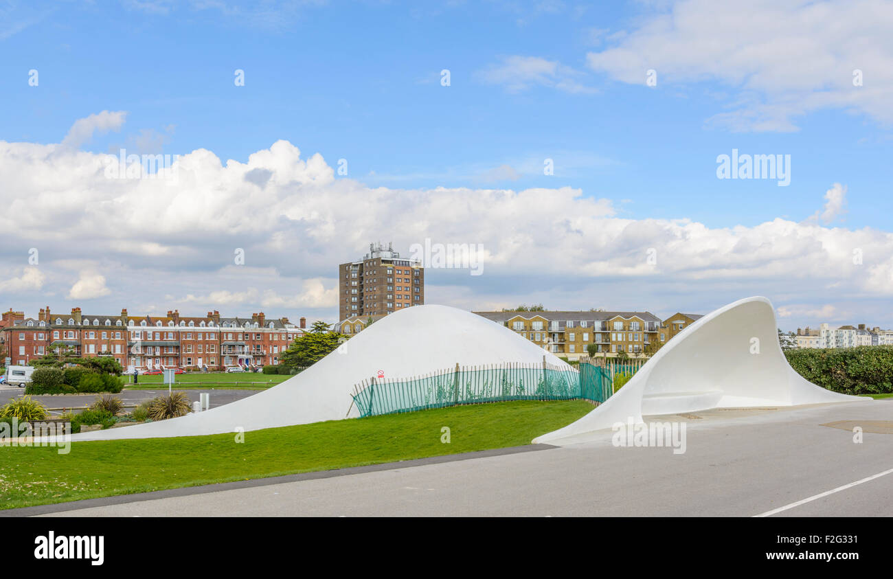 Stage by the sea along the promenade at Littlehampton, West Sussex, England, UK. - Stock Image