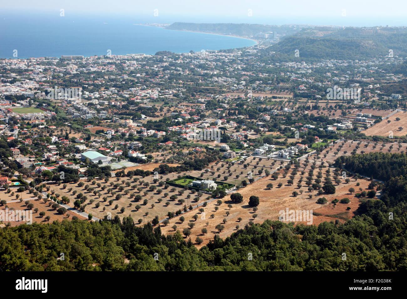 Ialyssos Plain seen from Mount Filerimos, Rhodes - Stock Image