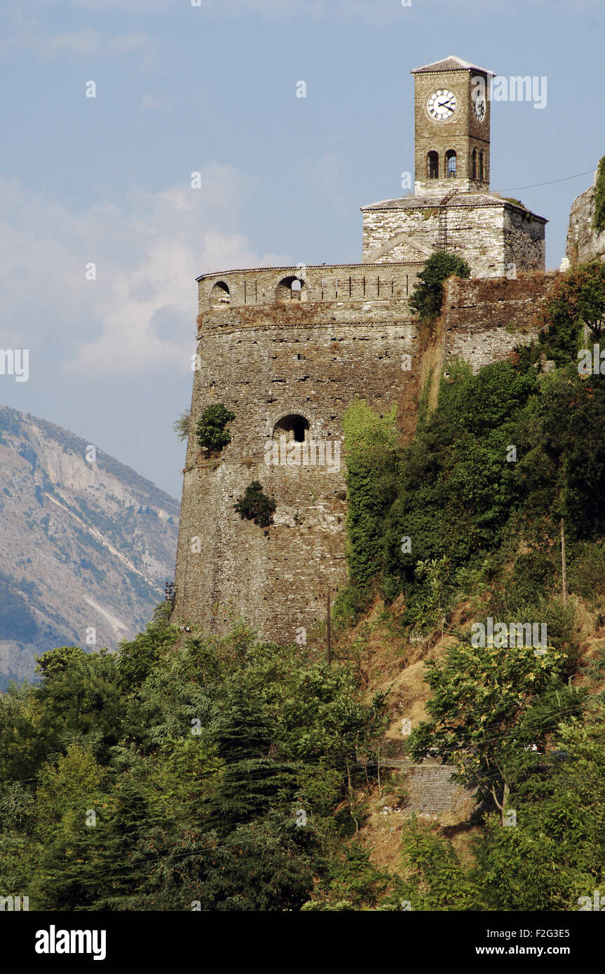Albania. Gjirokaster. Castle built in 18th century ordered by the tribal leader Gjin Bue Shpata and the clock tower, - Stock Image