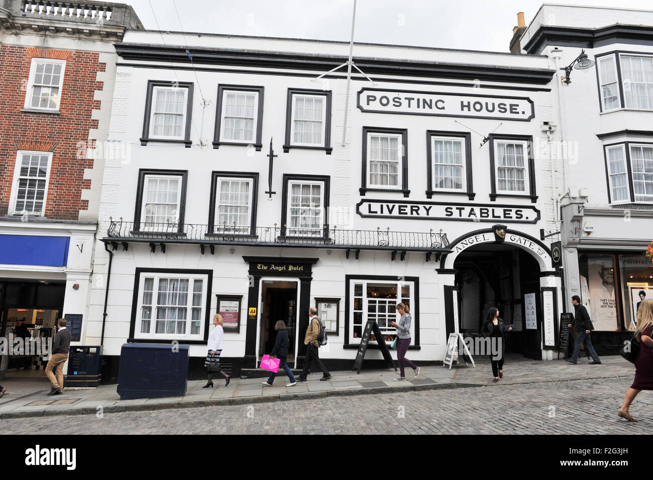 Guildford Surrey UK - The Old Posting House and Livery Stables at the Angel Hotel - Stock Image