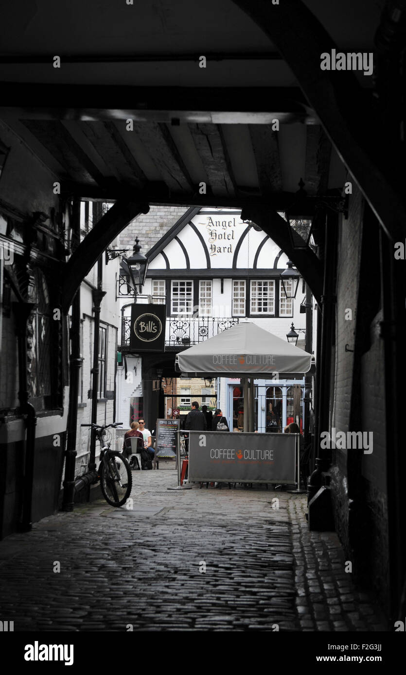 Guildford Surrey UK - The Old Posting House and Livery Stables at the Angel Hotel and Bills Restaurant - Stock Image