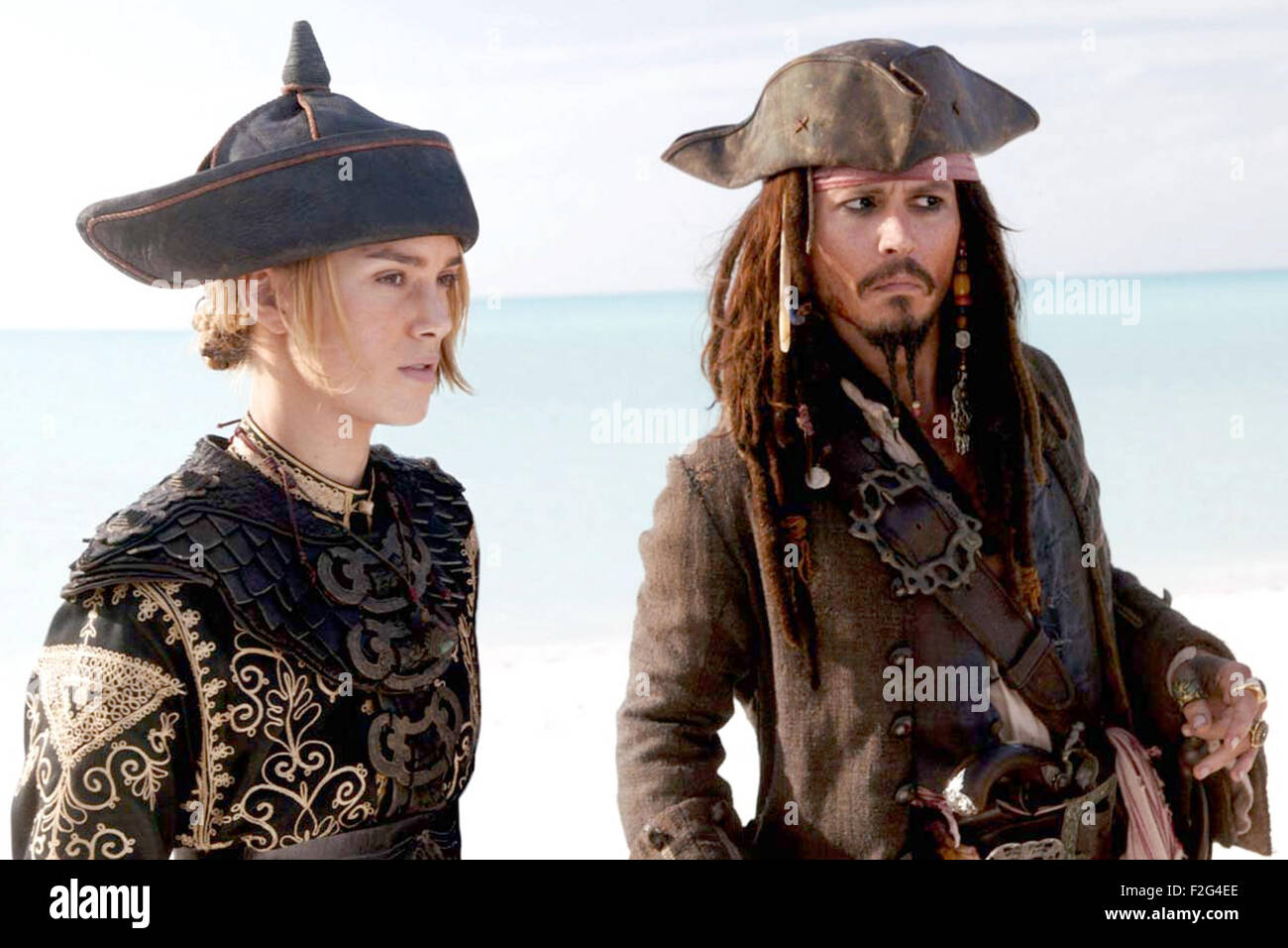 PIRATES OF THE CARRIBBEAN: AT WORLD'S END 2007 film with Keira Knightley and Johnny Depp - Stock Image