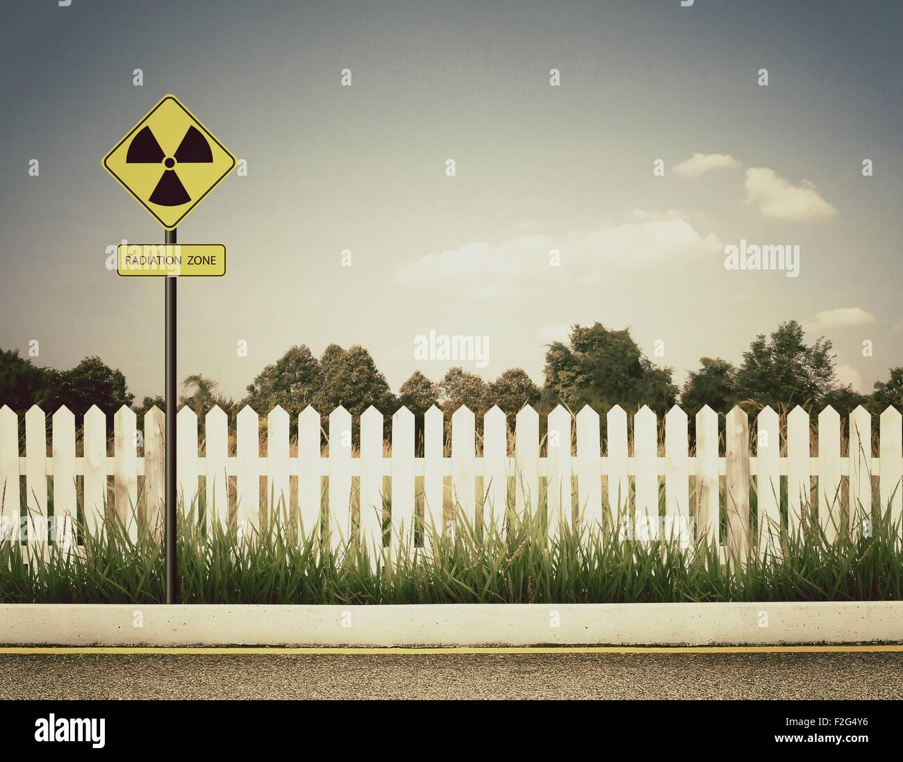 nuclear radiation warning symbol with blue sky Stock Photo: 87636282