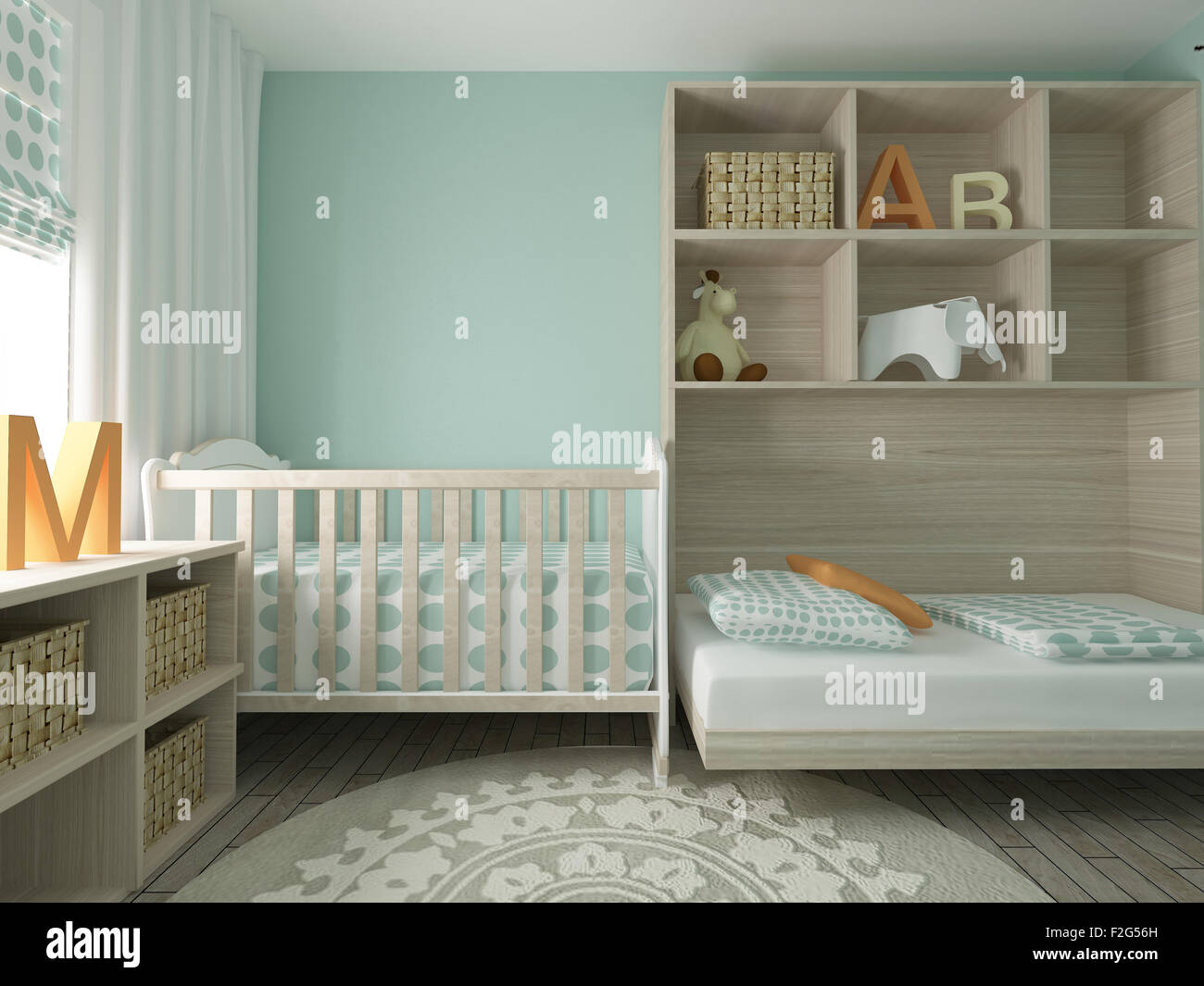 baby room nursery childrens room playroom interior design 3d