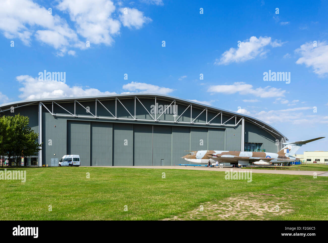 The AirSpace hangar at the Imperial War Museum, Duxford, Cambridgeshire, England, UK Stock Photo