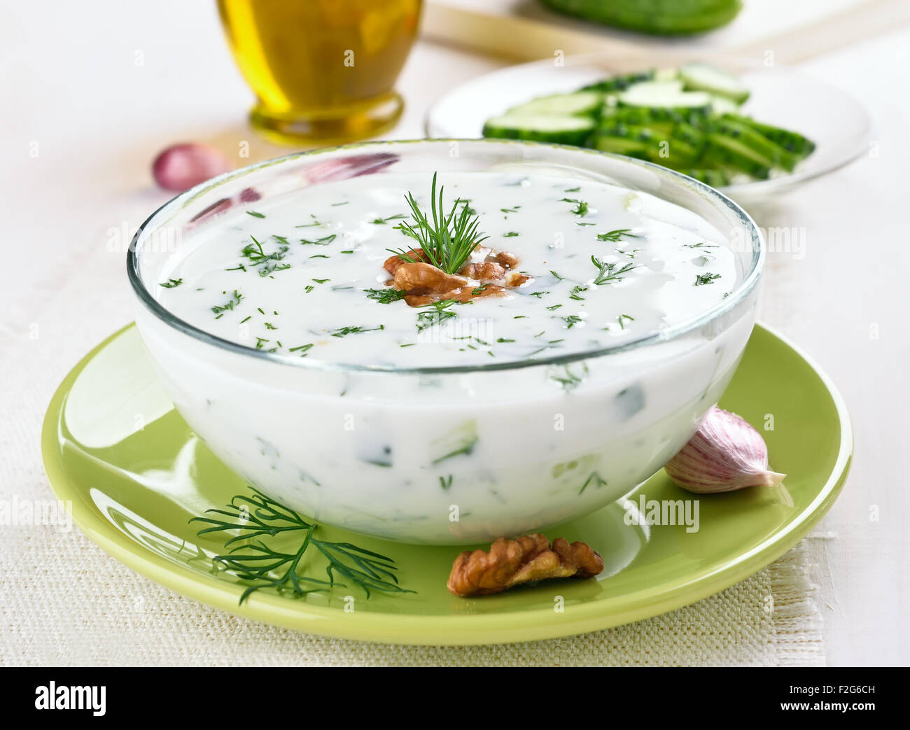 Bulgarian summer soup with cucumbers, dill and walnut - Stock Image