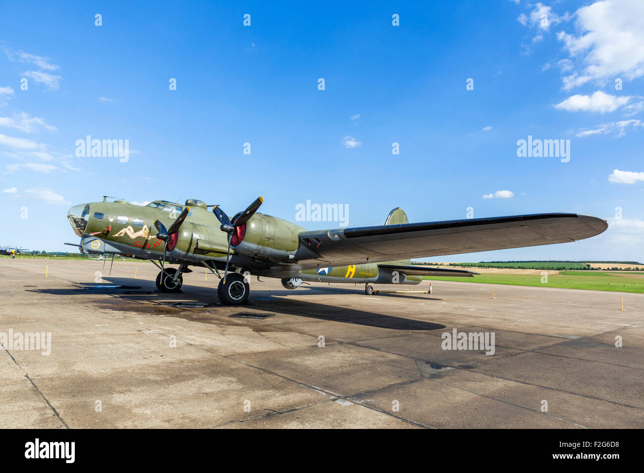 """Boeing B-17G Flying Fortress """"Sally B"""" at the Imperial War Museum, Duxford, Cambridgeshire, England, UK Stock Photo"""