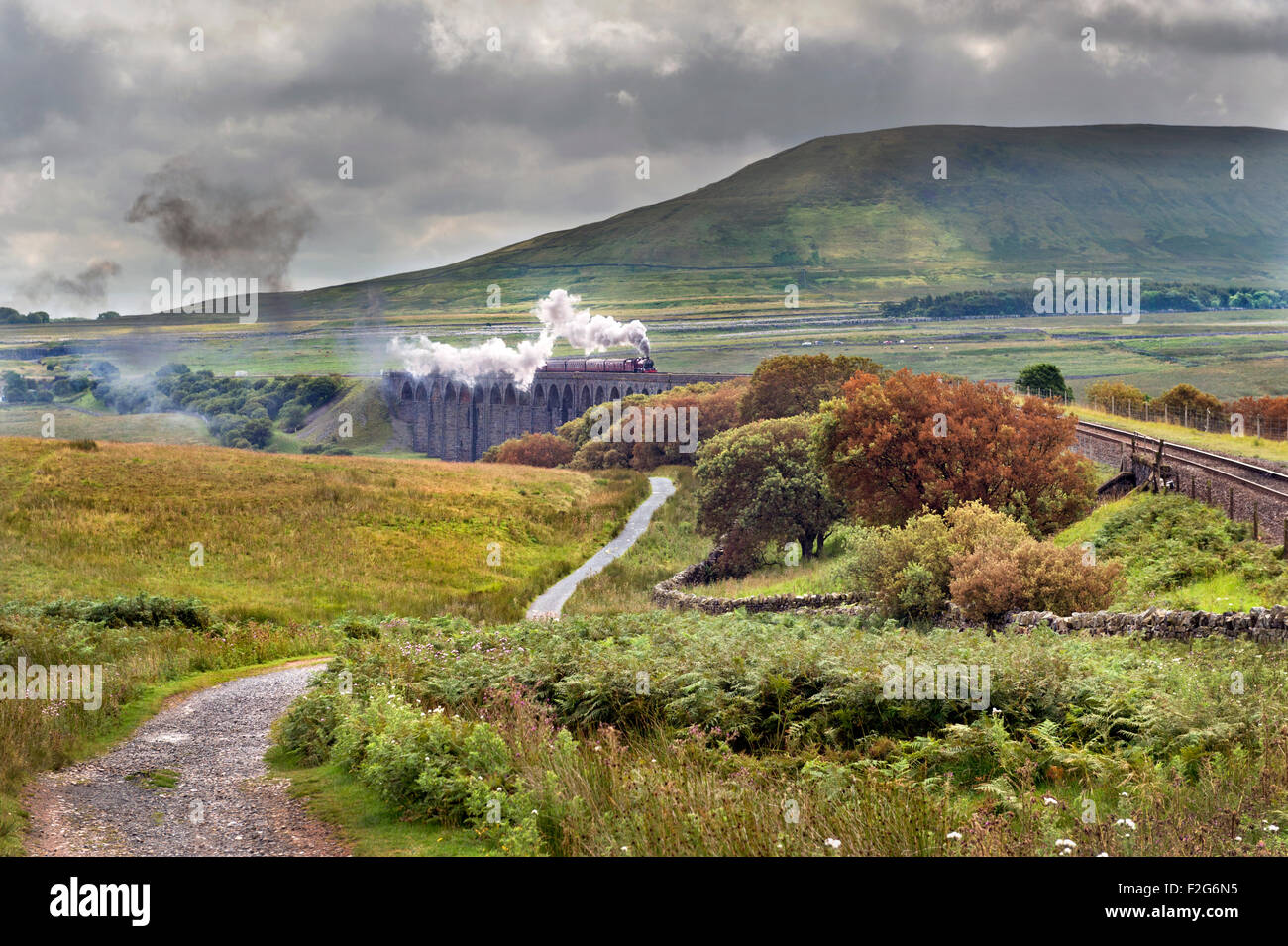 A Summer steam train special crosses Batty Moss - aka Ribblehead - viaduct, Settle to Carlisle railway, North Yorkshire, - Stock Image
