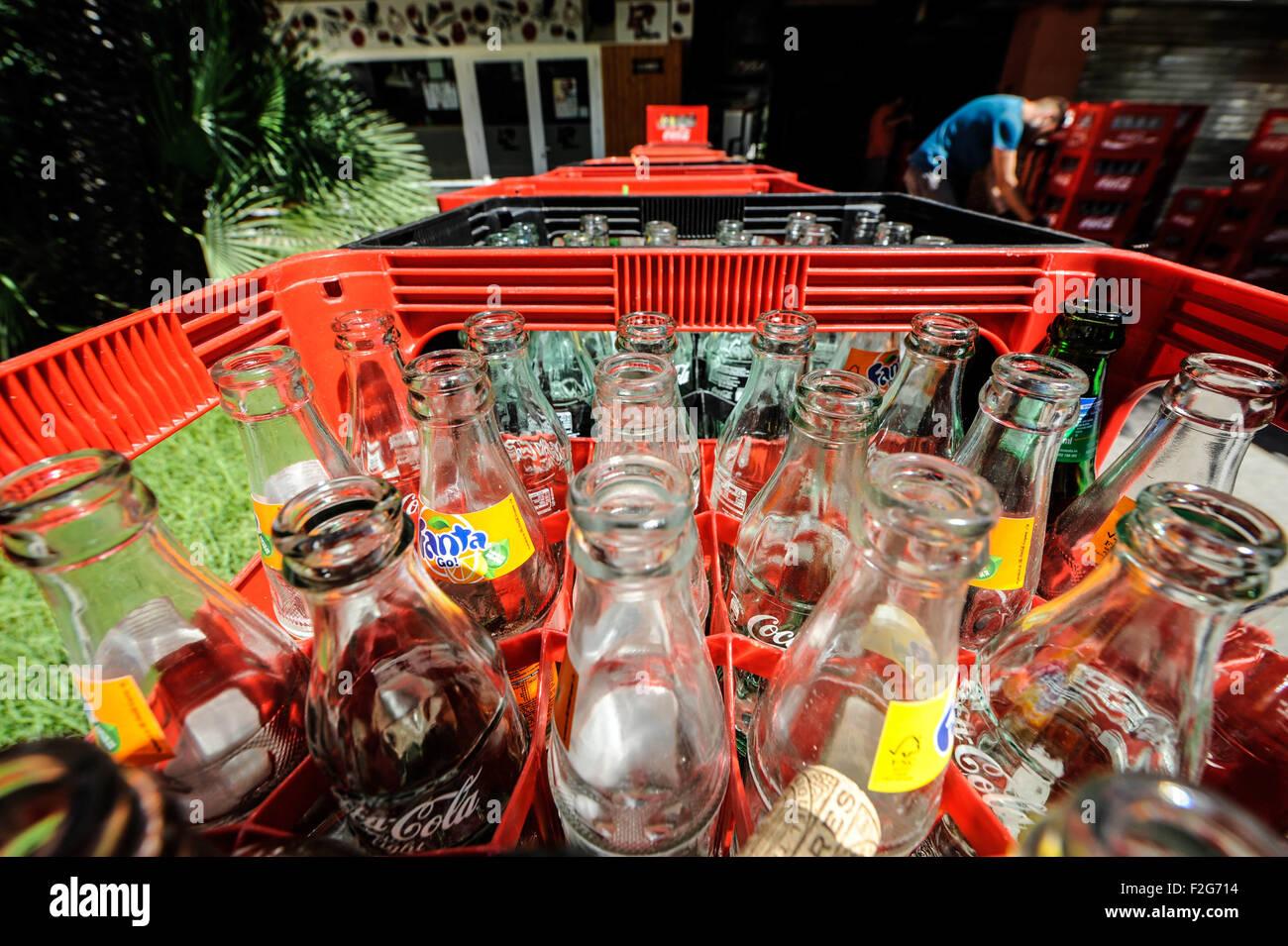 assortment of empty drink bottles - Stock Image