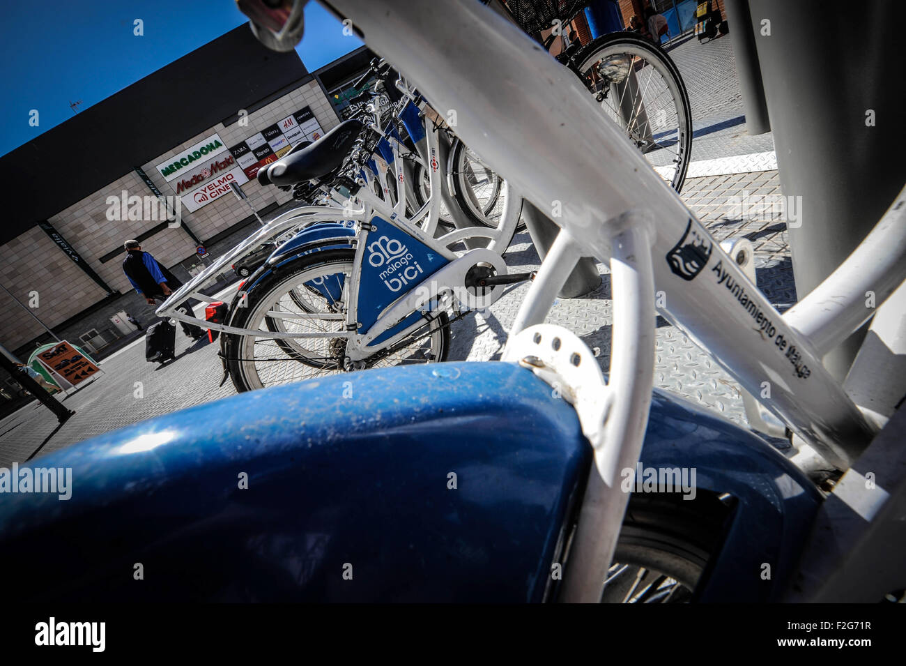 The public bicycles of  Malaga- las bicicletas públicas de Málaga - Stock Image