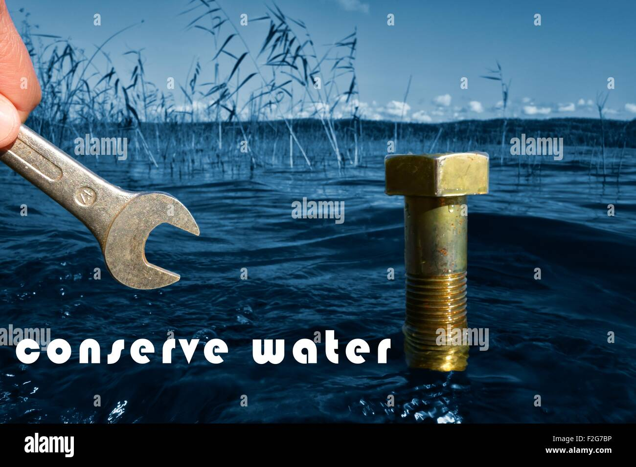 conserve water conceptual image - Stock Image