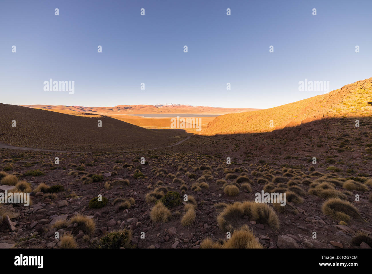 High altitude barren mountain range on the highlands of the Andes on the way to the famous Uyuni Salt Flat, among - Stock Image