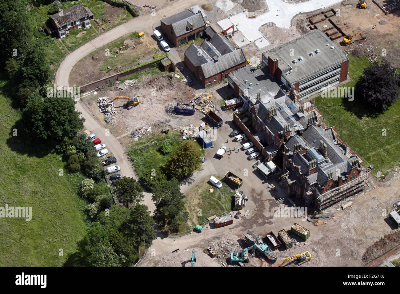 aerial view of a large house renovation building site in northern England, UK - Stock Image