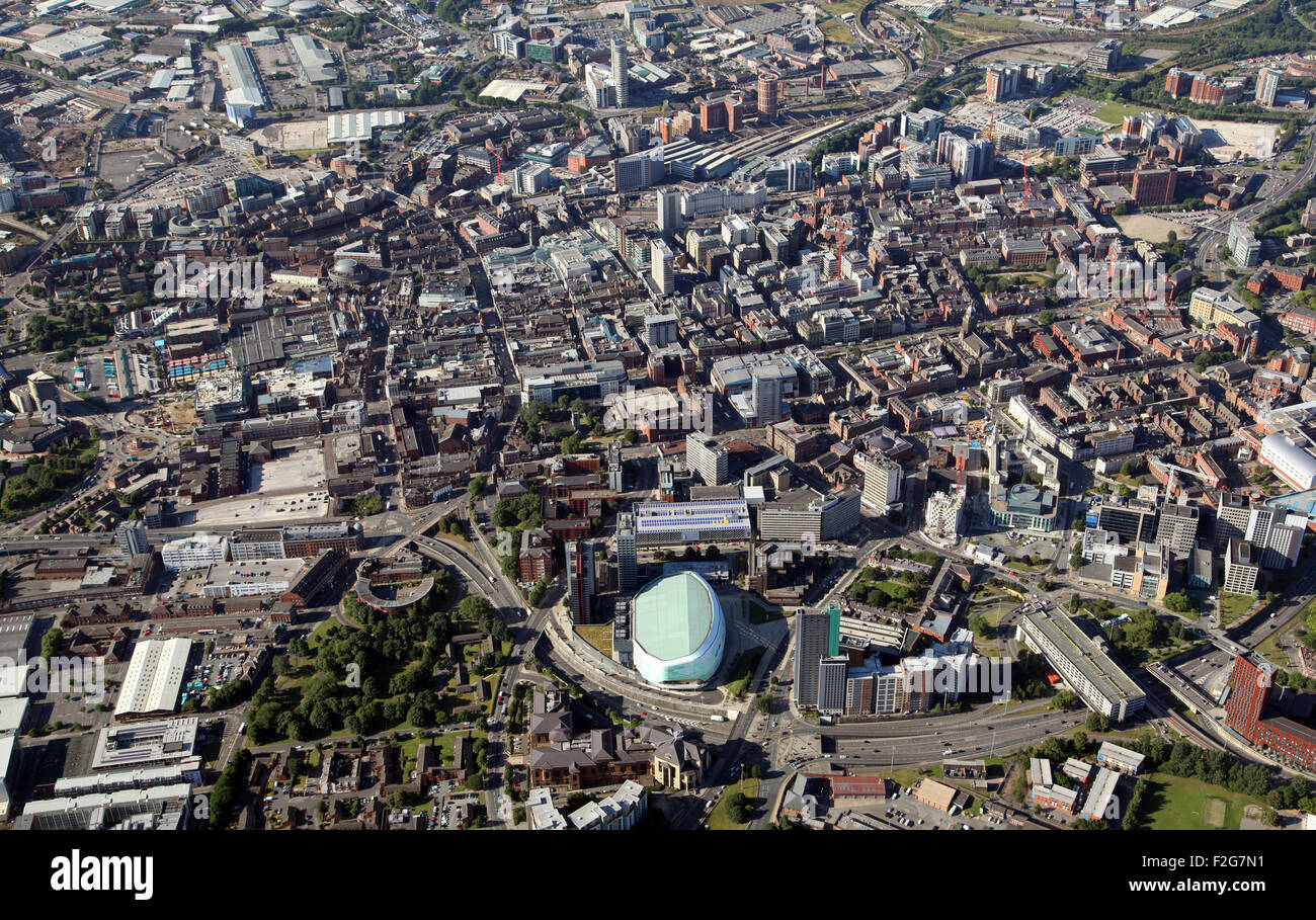 aerial view of Leeds city centre from the north looking south, West Yorkshire, UK - Stock Image