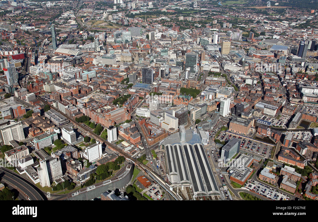 aerial view of the Manchester skyline, UK from Piccadilly Station towards the city centre, UK - Stock Image