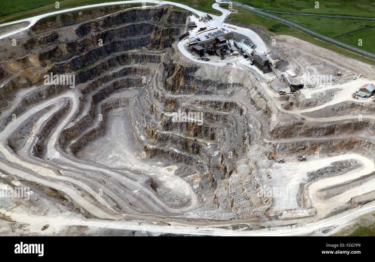 aerial view of the inside a stone quarry, Yorkshire, UK Stock Photo