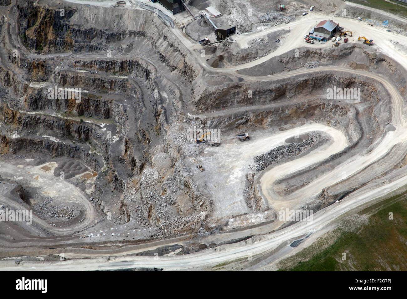 aerial view of the inside a stone quarry, Yorkshire, UK - Stock Image