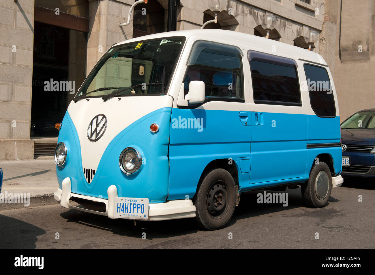 Volkswagen type 1 van parked on a street of Kingston, Ontario, Canada. - Stock Image