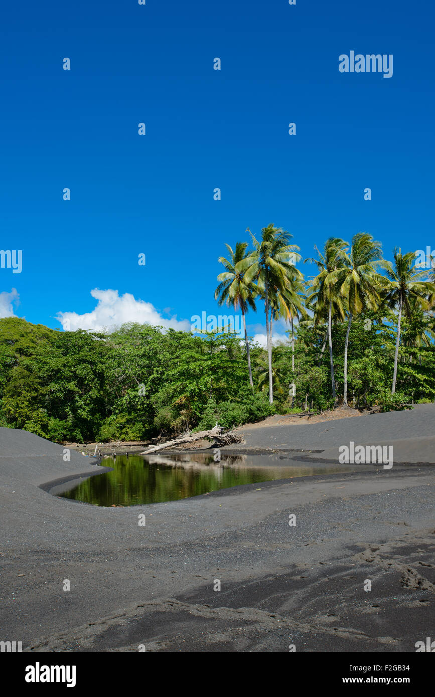 Coastal fisherman huts in North Sulawesi on a black sand beach with tropical lush in the background during a sunny - Stock Image