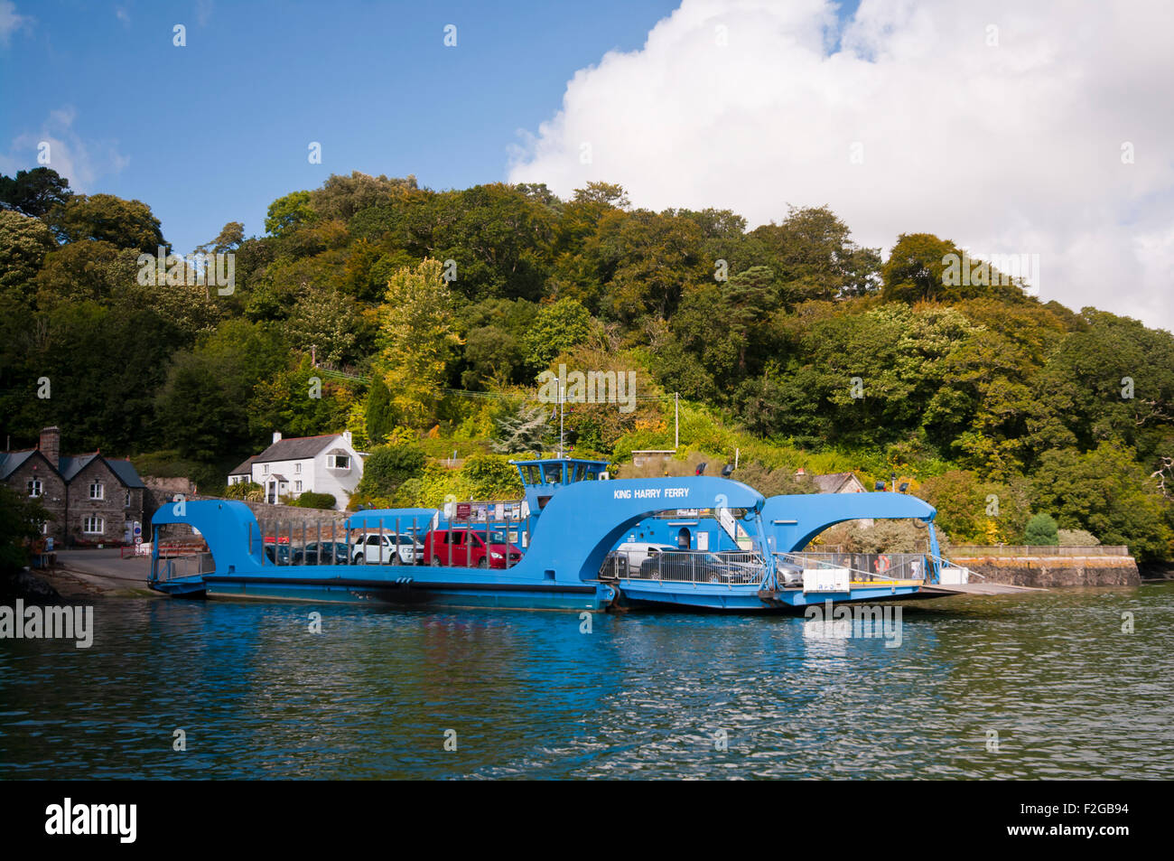 The King Harry Chain Ferry Which connects St Mawes and the Roseland Peninsula  with feock across The River Fal Cornwall - Stock Image