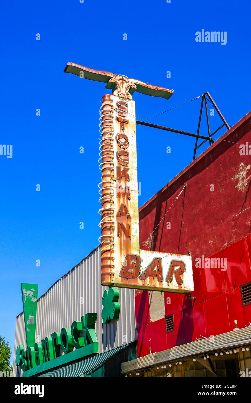 Overhead sign for the Stockman Bar in Wibaux, Montana - Stock Image