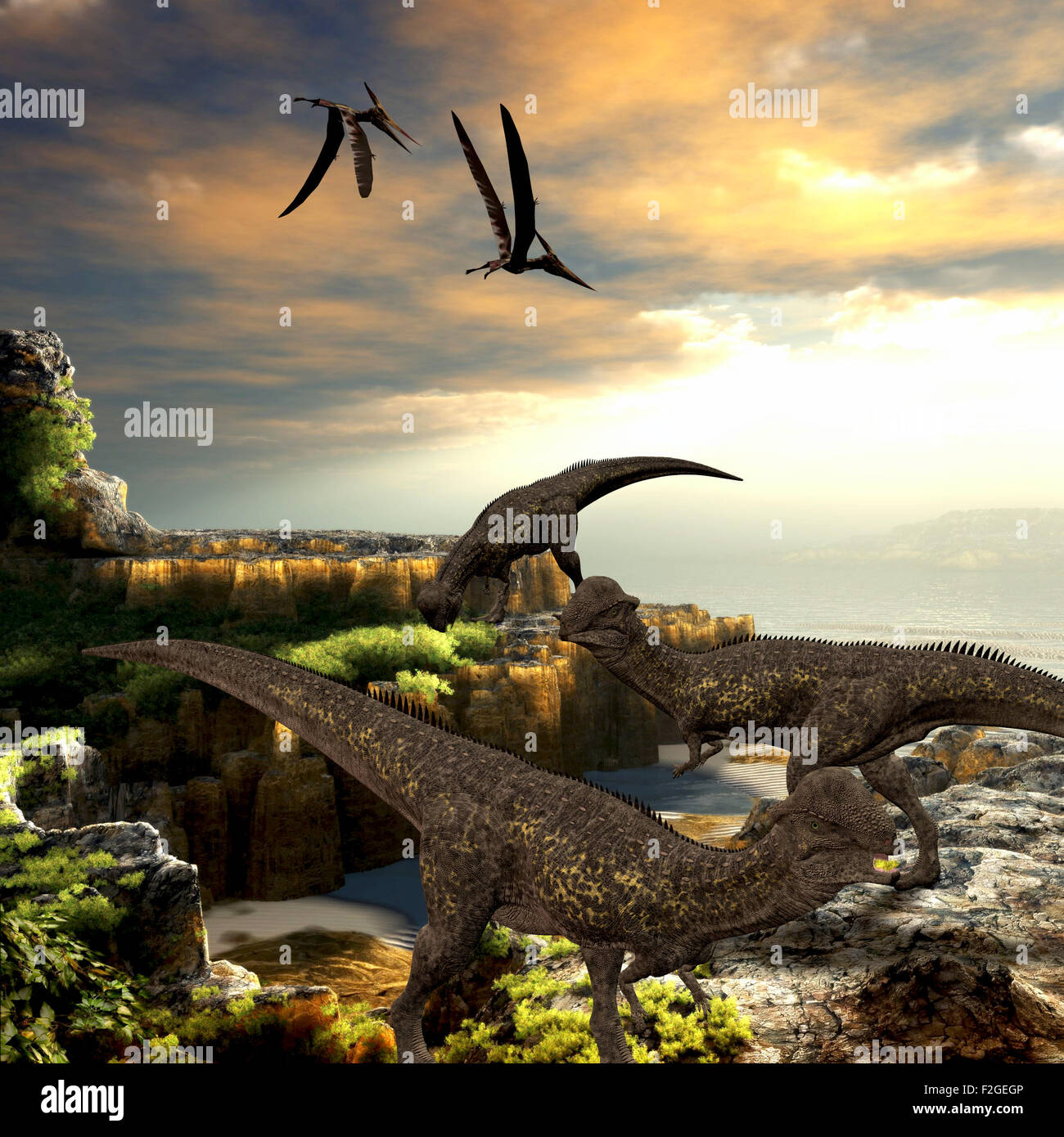 Stegoceras dinosaurs eat the vegetation along a rocky coast as Pteranodon reptiles fly overhead. - Stock Image