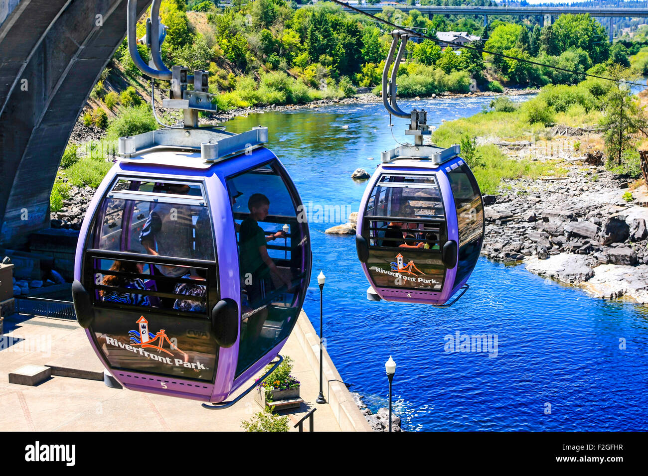 """The Riverfront Park Skyride in Washington. One of the Top 12 Scenic Cable Rides in the World"""" in 2013 by Conde Nast Stock Photo"""