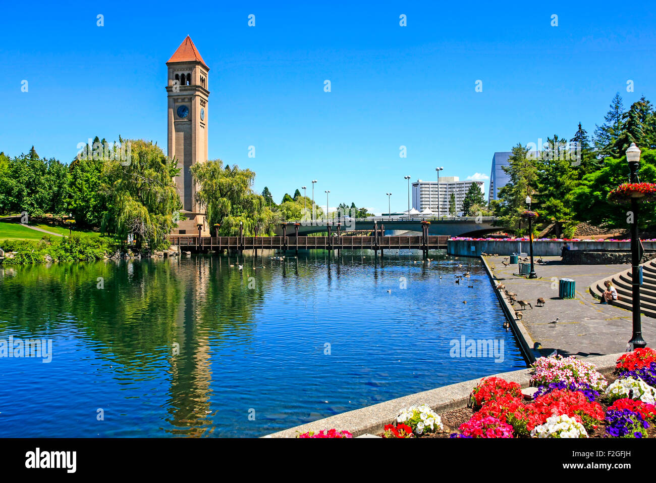 The Great Northern clock tower and U.S. Pavilion in Riverfront Park, Spokane in Washington Stock Photo