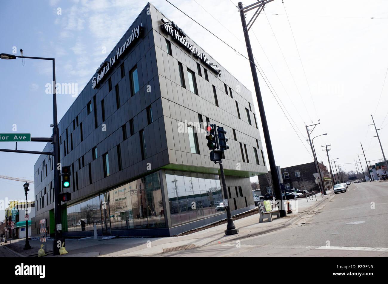 New Habitat for Humanity building on University Ave. near Snelling Ave. St Paul Minnesota MN USA - Stock Image