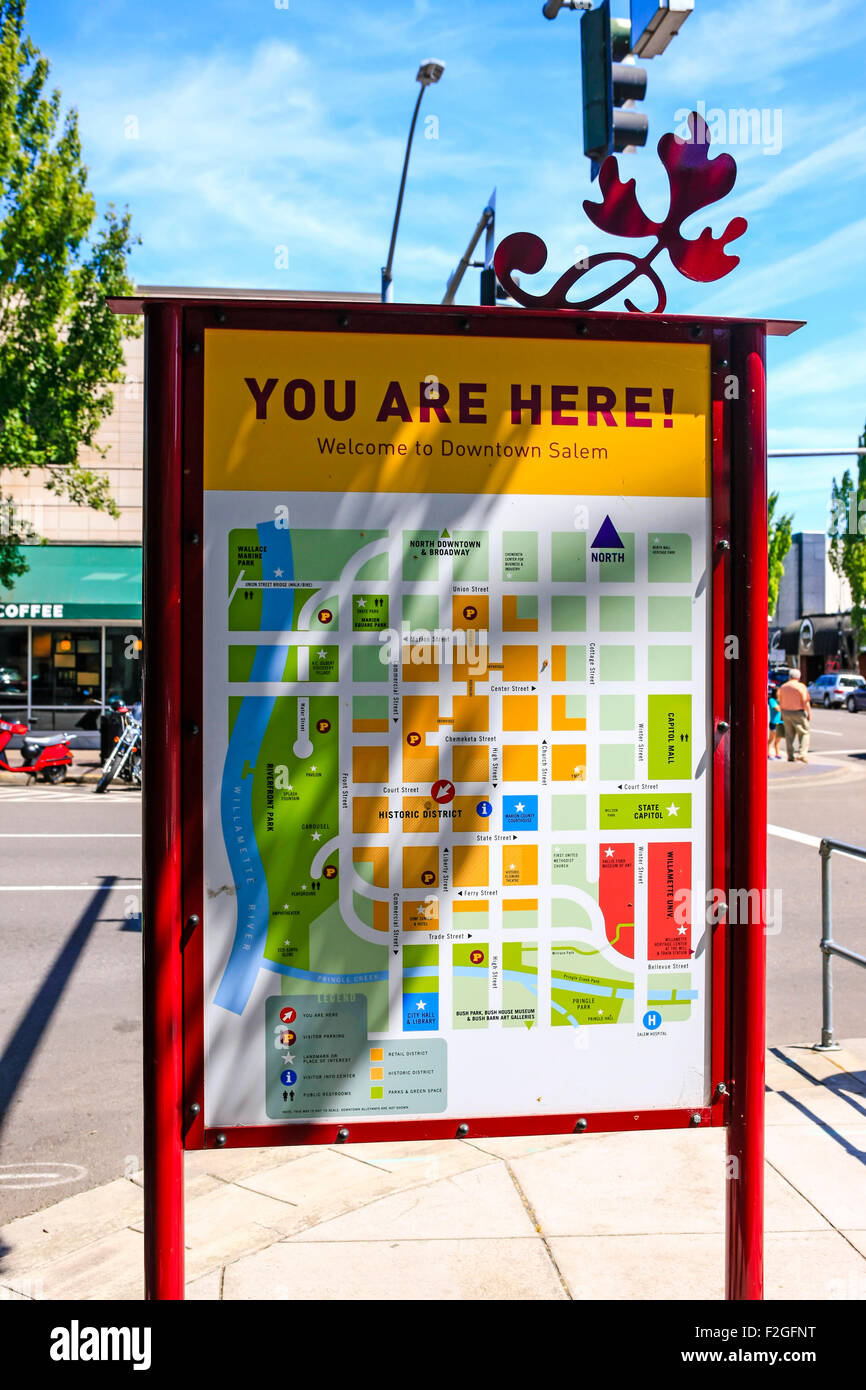 Tourist information map in Salem Oregon Stock Photo ...