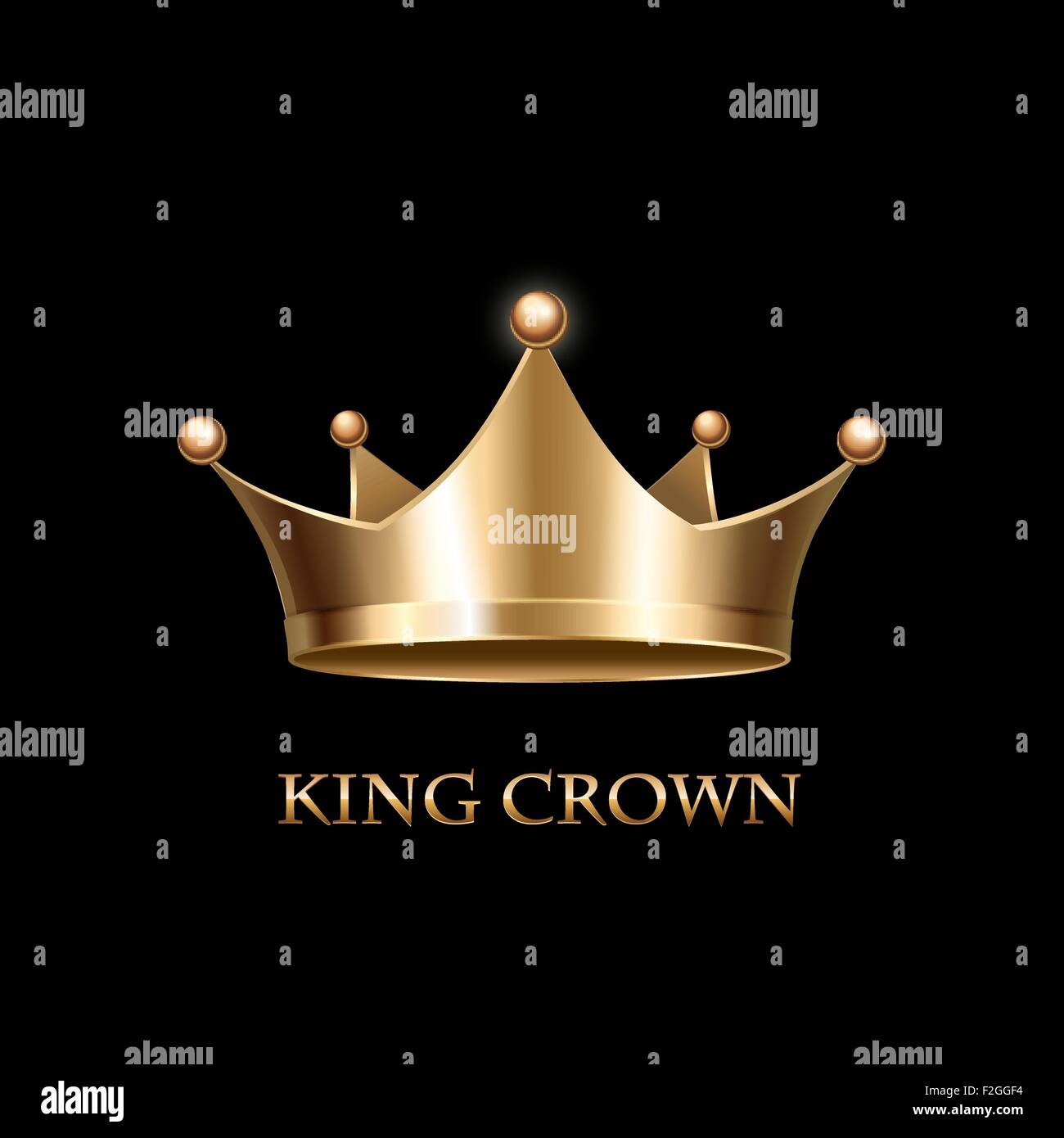 Gold Crown  on black - Stock Image